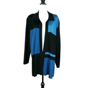 Exclusively Misook color block open front cardigan